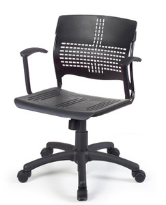 Sense Task Chair with black plastic seat and fixed C arms