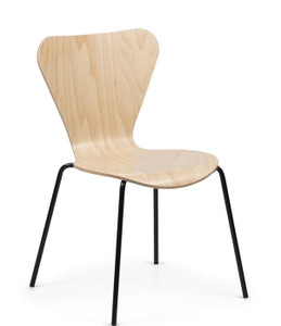 Clover Wood Stacking Chair in Maple  with standard Black frame finish- Quickship version