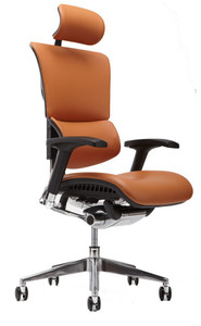 X4 Leather Executive Task Chair with Headrest, Cognac Leather