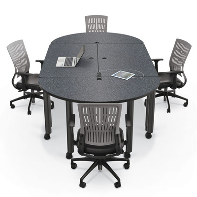 Modular Conference Table With Round Ends In Graphite Nebula ...