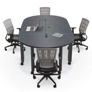 Modular Conference Table with Round Ends in Graphite Nebula