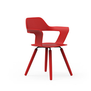 Muse Chair with red shell and red legs