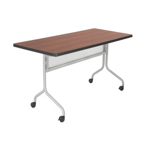"Impromptu® Mobile Training Table 48"", Cherry top and Metallic Gray frame"