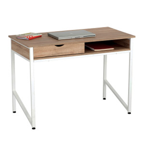 Single Drawer Studio Desk with white legs and Beech laminate top