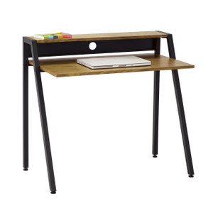Single Drawer Studio Desk with black legs and Natural Wooden Veneer top