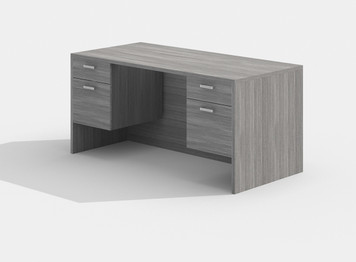 Amber Double Suspended Pedestal Desk in Grey