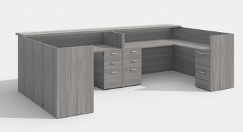 Amber Reception Desk with Wood Transaction Top in Grey