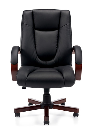 Offices to Go Luxhide Wood Trim Executive Chair front view