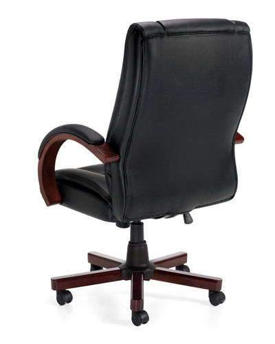 Offices to Go Luxhide Wood Trim Executive Chair back left view