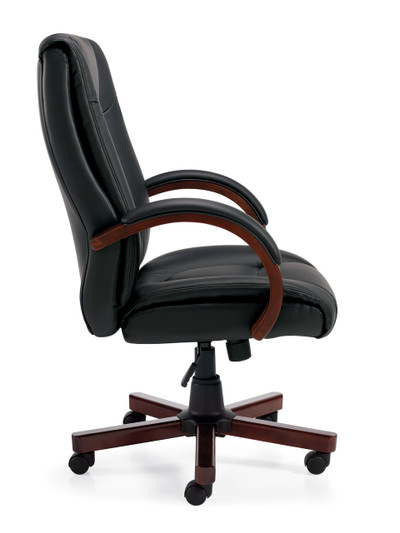 Offices to Go Luxhide Wood Trim Executive Chair side view