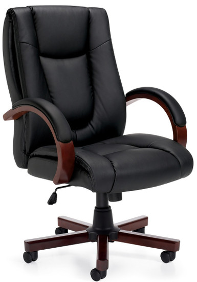 Offices to Go Luxhide Wood Trim Executive Chair