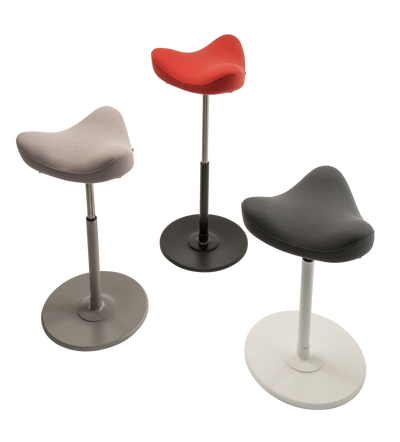 Custom Upholstered Move Stool with medium lift and black, white or grey base