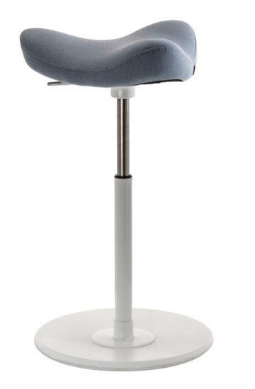 Varier Move Ergonomic Upholstered Stool in Revive Grey with white base