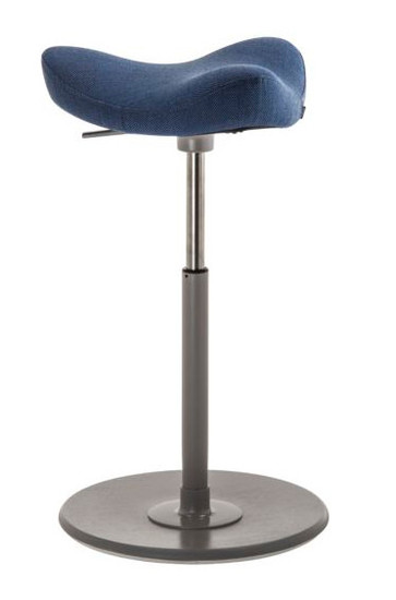 Varier Move Ergonomic Upholstered Stool in Revive Blue with black base