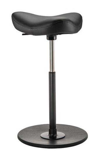 Varier Move Ergonomic Upholstered Stool in black leather with black base