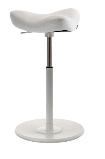 Varier Move Ergonomic Upholstered Stool in white leather with white base