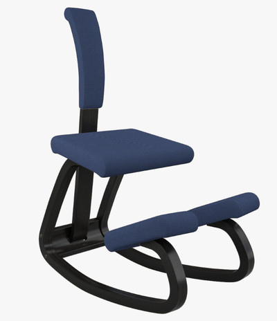 Varier Variable balans in Black wood and Revive Blue fabric, with back support