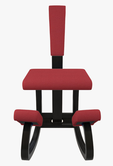 Varier Variable balans in Black wood and Revive Red fabric, with back support