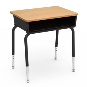785 Series Student Desk with fusion maple laminate top and char black frame