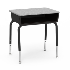785 Series Student Desk with Grey Nebula laminate top and char black frame