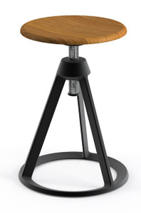 KnollStudio Piton™ Adjustable Height Stool with Teak Wood seat on a Jet Black base