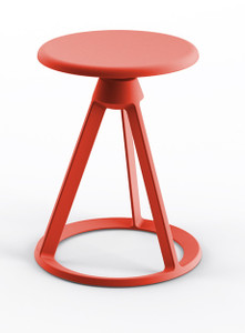 KnollStudio Piton™ Fixed Height Outdoor Stool with Red Coral base and Painted Aluminum matching seat