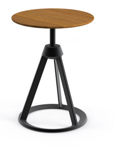 KnollStudio Piton™ Side Table with Teak top and Metallic Grey base