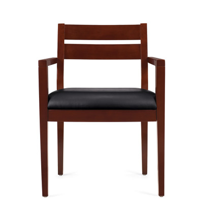 Offices to Go Luxhide Wood Guest Chair in Cordovan Wood Finish front view