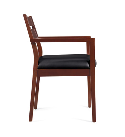 Offices to Go Luxhide Wood Guest Chair in Cordovan Wood Finish side view