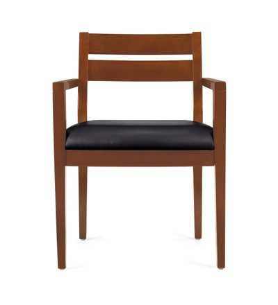 Offices to Go Luxhide Wood Guest Chair in Toffee Wood Finish side view