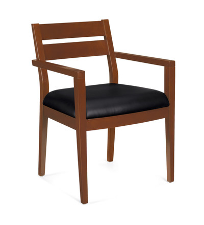 Offices to Go Luxhide Wood Guest Chair in Toffee Wood Finish