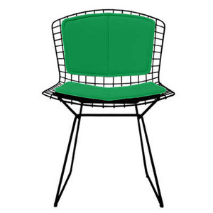 KnollStudio Bertoia Side Chair with Lime Vinyl Back and Seat Pad and Blue powder coat frame