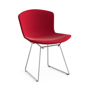 KnollStudio Bertoia Side Chair with Full Upholstery Cover in Ultrasuede Red