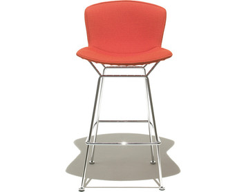 KnollStudio Bertoia Barstool with Full Upholstery Cover in Ultrasuede Poppy with Polished Chrome frame