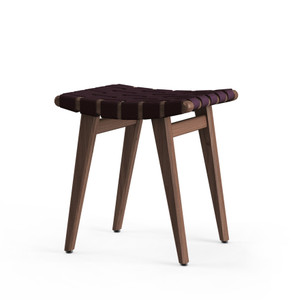 KnollStudio Jens Risom Stool with Walnut frame and Aubergine fabric webbing