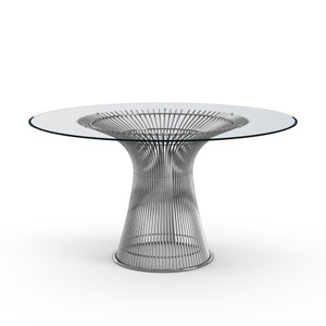 KnollStudio Platner Dining Table with clear glass top and polished nickel base