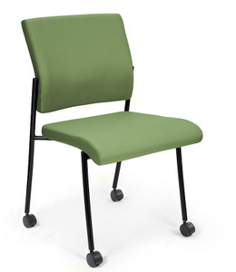 Finesse Upholstered Side Chair with standard black frame and optional casters