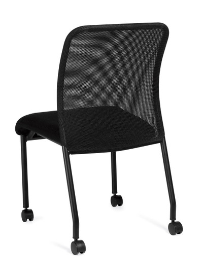 Offices to Go Armless Mesh Back Guest Chair with Casters back left view