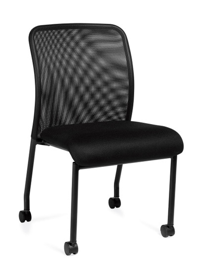 Offices to Go Armless Mesh Back Guest Chair with Casters