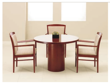 Universal Round Table with Wood Veneer Top and Base