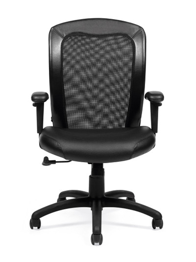 Offices to Go Luxhide Adjustable Mesh Back Ergonomic Chair front view