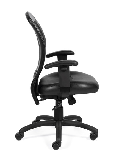 Offices to Go Luxhide Adjustable Mesh Back Ergonomic Chair side view