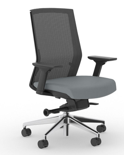 Zilo Black Frame Conference Task Chair, Black frame with Stone seat upholstery