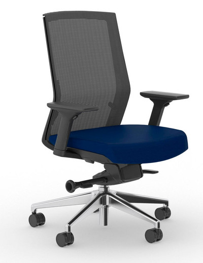 Zilo Black Frame Conference Task Chair, Black frame with Royal seat upholstery