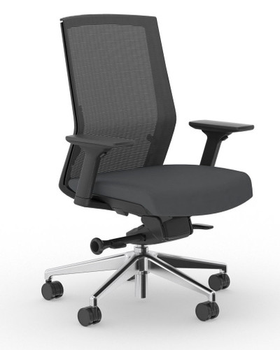 Zilo Black Frame Conference Task Chair,Black frame with Graphite seat upholstery