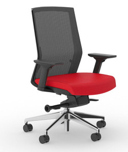 Zilo Black Frame Conference Task Chair, Black frame with Red seat upholstery