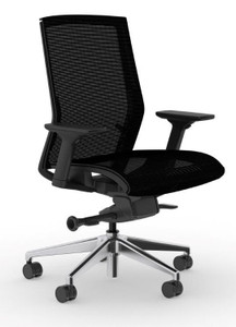 Zilo Black Frame and Mesh Seat Conference Task Chair with non-removable mesh seat fabric and aluminum base