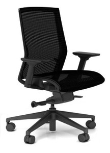 Zilo Black Frame and Mesh Seat Conference Task Chair with non-removable mesh seat fabric and black base