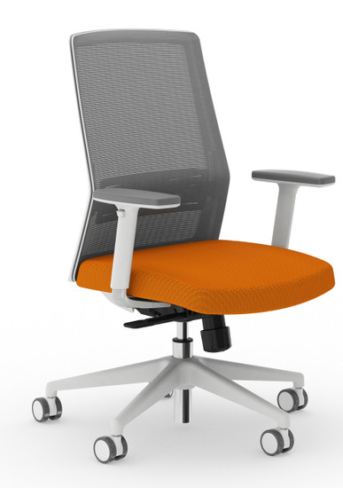Bodi Synchro-Tilt Task Chair with light grey frame and mesh,  Mandarin seat cover fabric