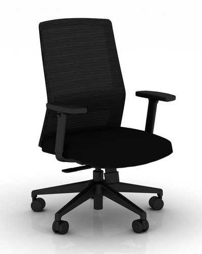 Bodi Synchro-Tilt Task Chair with black frame and mesh,  Stone seat cover fabric